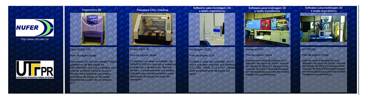 Equipamentos para desenvolvimento da pesquisa na UTFPR: Impressora 3D, Fresadora CNC/Escaner, Softwares para modelagem 3D e testes ergonomicos